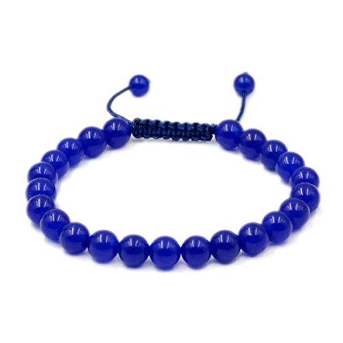 - AD Beads Natural 8mm Gemstone Bracelets Healing Power Crystal Macrame Adjustable 7-9 Inch (Blue Jade)