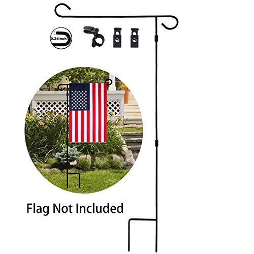 HOOSUN Garden Flag Stand Holder Pole Easy to Install Strong Sturdy Wrought Iron 36