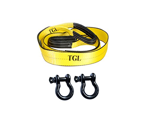 (TGL 3 inch 8 foot 30,000 Pound Capacity Tree Saver, Winch Strap with 2-Pack of 3/4 inch Shackles)