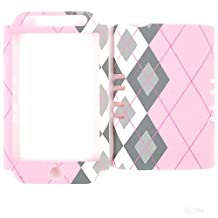 Cell Armor IPHONE4G-RSNAP-TE284 Rocker Snap-On Case for iPhone 4/4S - Retail Packaging - Black and White Plaid on Pink