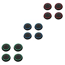 Insten [6 Pair / 12 Pcs] Silicone Analog Thumb Grip Stick Cover for PS4 Dualshock 4/ PS3 Dualshock 3/ PS2 Dualshock/ Xbox One Wireless/ Xbox 360 Controllers (Black/Green, Black/Red, Black/Blue)