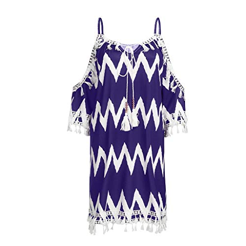 - Nuewofally Women's Halter Tassel Off Shoulder Dress Ripple Printed Lace Beach Dress Boho Embroidered T-Shirt Tops (Purple,L)