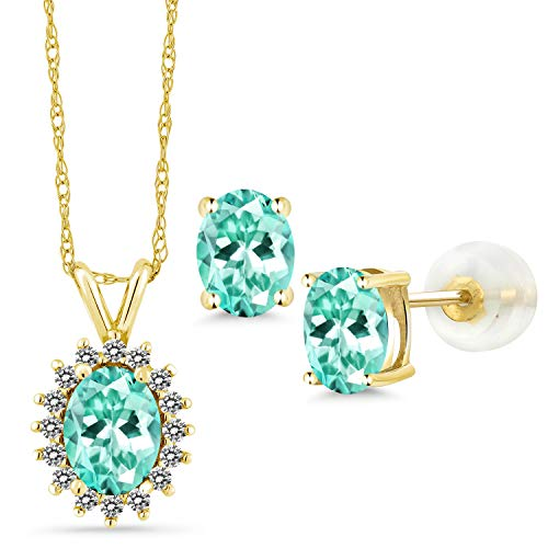 Gem Stone King 2.49 Ct Oval Blue Apatite 14K Yellow Gold Pendant Earrings Set