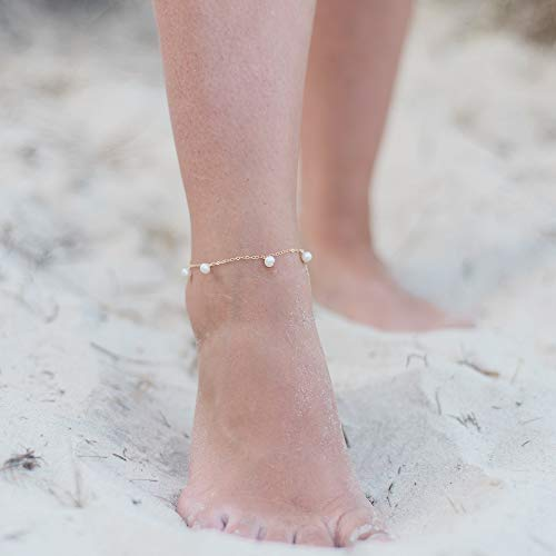 Boho freshwater pearl gemstone dangle bead drop anklet in 14k gold fill - 9