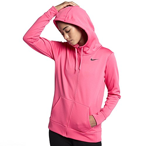 NIKE Therma Womens Full Zip Hoodie 868740 (Pink Nebula/Black, Small)