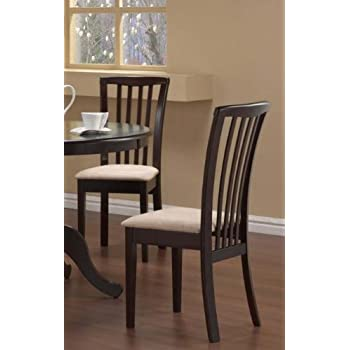 Set of 2 Dining Chairs Microfiber Fabric Cappuccino Finish