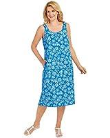Sleeveless One Button Dress, Blue, Size Extra...