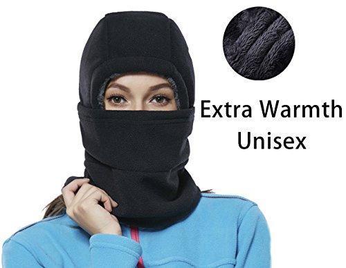- Leories Winter Windproof Polar Fleece Neck Warmer Balaclava Hooded Face Mask Ski Hood Snowboard Mask Black