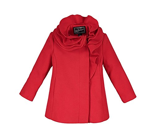 Rothschild Little Girls Coat Stylish and Comfortable Wool Jacket Perfect Gift for Back to School Birthdays or Any Occasion (6X, Red) -