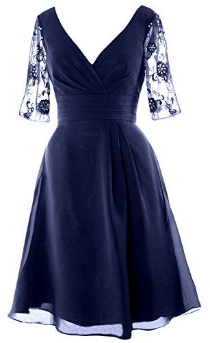 Sleeves Dress Cocktail Mother Short Macloth V Of Half Bride Dark Neck Navy Women The ExYfqBw6