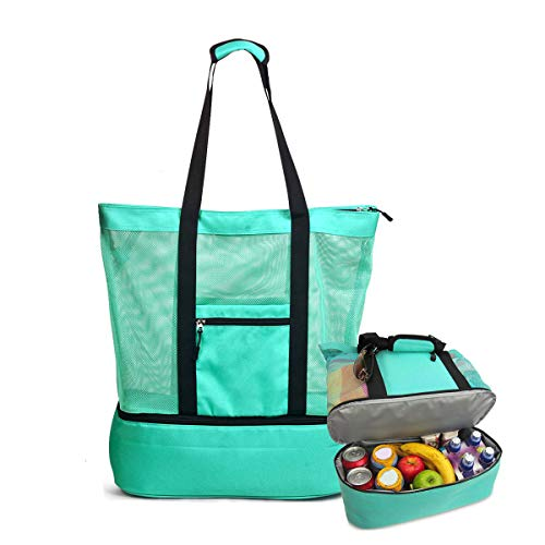 YoHomie Outdoor Mesh Beach Tote Bag with Insulating Layer - Portable Multi-Function Pool Bags, Large Capacity/Double Canvas Picnic Bag, Zippered Waterproof Lunch Bags