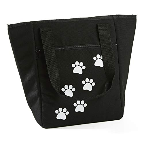 (Fit & Fresh Coronado Tote for Adults and Teens, Paw Prints, Black)