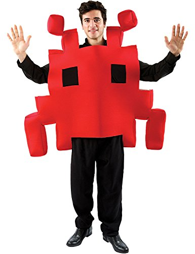 Adult Red Space Arcade Game - Space Invaders Costume