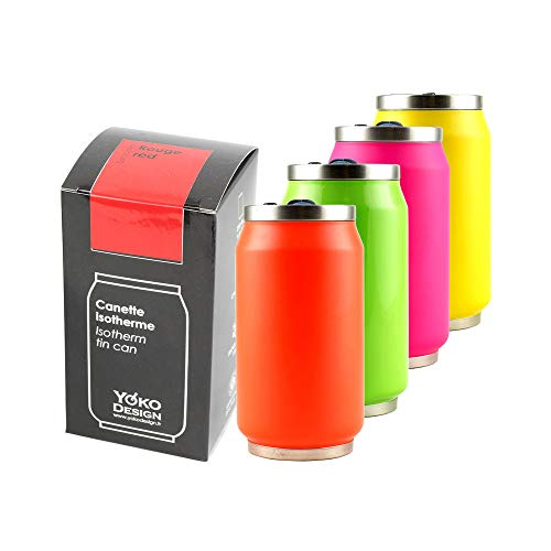 YOKO DESIGN 1351 Fluo Canette isotermica Doble Pared Acero Inoxidable 7 cm 280 ml, Acero Inoxidable, Naranja, 14 x 7,5 x 7,8 cm