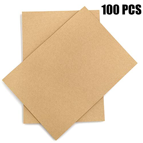 Brown Kraft Paper,100 Sheets A4 Stationery Paper,120GSM Brown Cardstock Paper Perfect for Arts, Crafts, and Office Use,8.3