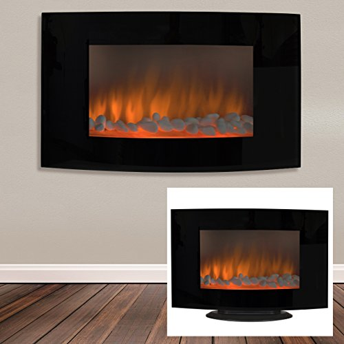 Best Choice Products Large 1500W Heat Adjustable Electric Wall Mount U0026 Free  Standing Fireplace Heater With Glass XL
