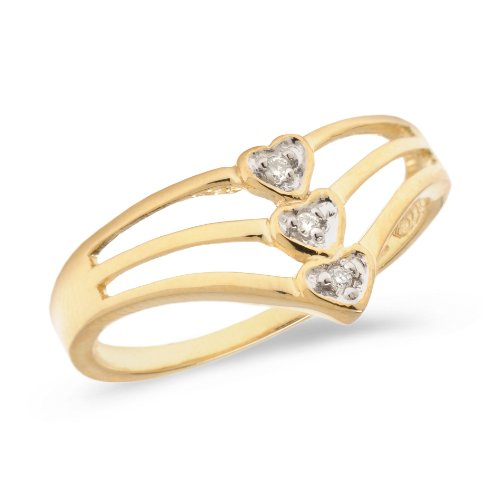 (14K Yellow Gold Diamond Heart Ring )