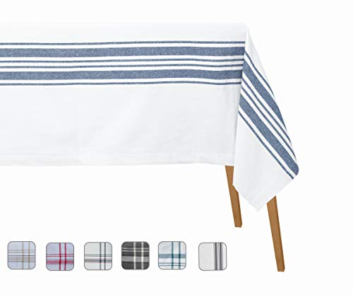 Country Stripe Tablecloth - French Country Table Cloths Rectangle - Organic Cotton Tablecloth Rectangle - Cotton Tablecloths - Chambray Tablecloth(Table Cloth(63 X 109), Country Stripes(Navy/Cream))