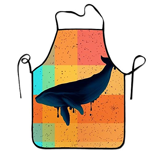 booskaneews FnLiu Personalized Whale Patchwork Aprons Printed Apron for Cooking BBQ ()