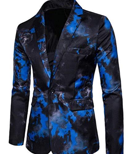 Fit Veste Loisirs Slim Motif Imprimé Simple Avec Hommes Blau Casua Décontracté Moderne Costume Blazer 6xvSZqvA