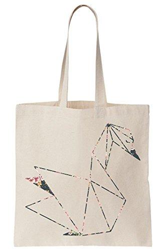 Bag Floral Tote Canvas Artwork Origami Swan wnSvqf1n