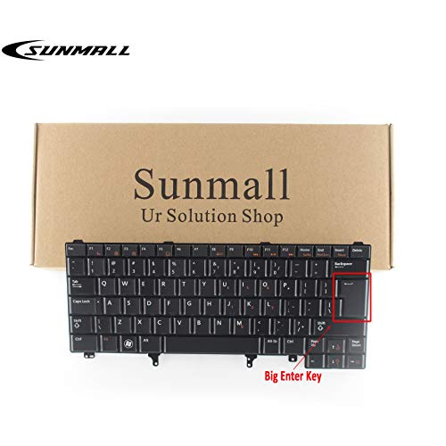 Sunmall Replacement Keyboard with Backlit/Big Enter Key Compatible with Dell Latitude E5420 E5430 E6220 E6320 E6330 E6420 E6430 E6440 Series US Layout Black (Without Pointer Stick)