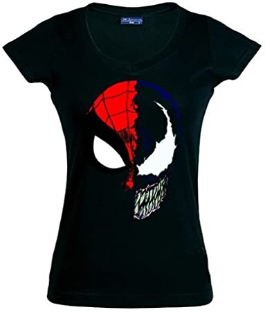 Camiseta Spiderman - Venon, Negra ,Manga Corta Chica (Talla: M Chica Manga Corta Ancho/Largo[42cm/58cm]): Amazon.es: Juguetes y juegos