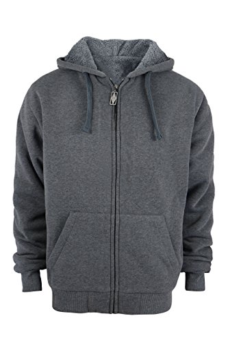 Heavyweight Sherpa Lined Plus sizes Warm Fleece Full Zip Mens Hoodie with Padded Sleeve & Rib cuffs