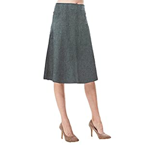 ef66b624746a MoDDeals Women's High Waist A-line Below The Knee Flared Midi Skirt Stretch  Woven and ...