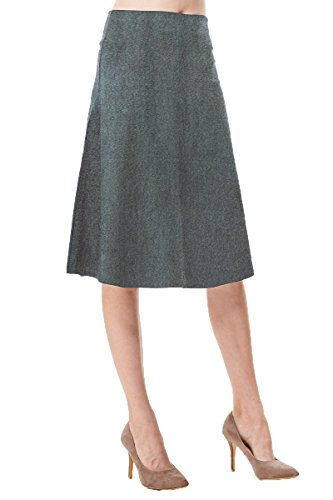 (MoDDeals Women's High Waist A-line Below The Knee Flared Midi Skirt Stretch Woven Perfect for Work, The Office,Casual Or Dressy (Large, Denim Blue))