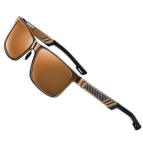 ROCKNIGHT Driving Polarized Shades for Men Full Frame Brown Sunglasses Lightweight Metal Frame Sunglasses