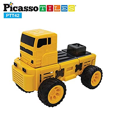 PicassoTiles 42 Piece Magnetic Building Block Truck Theme Set Magnet Construction Toy Educational Kit Engineering STEAM Learning Playset Child Brain Development Stacking Blocks Playboard PTT42-TRUCK: Toys & Games