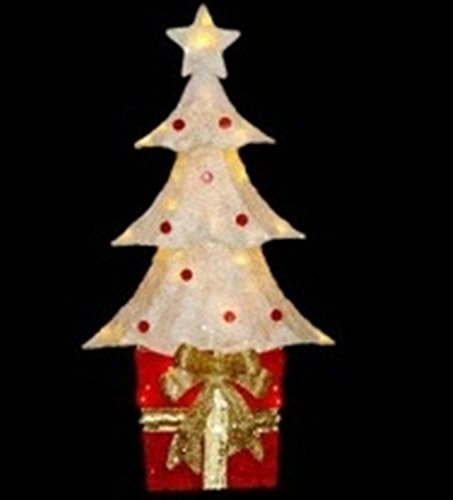 Northlight 32'' Lighted Sparkling Red and Cream Sisal Christmas Tree with Present Yard Art Decoration by Northlight
