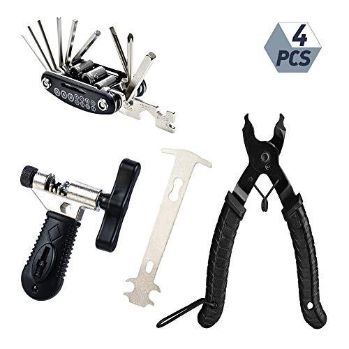 evebel Bike Link Plier + Chain Breaker Splitter Tool + Chain Checker + 16 in 1 Multifunction Bicycle Mechanic Fix Tools Bike Repair Kit, Bike Chain Tool Link Opener Closer Plier Wear Indicator Checker