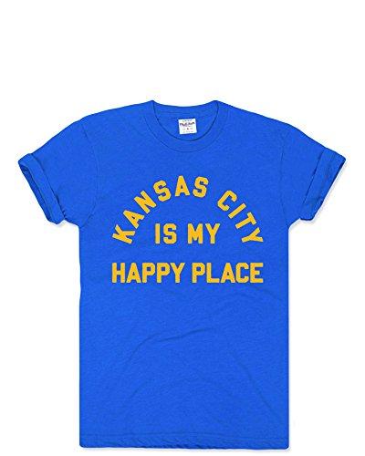 Charlie Hustle Unisex Hometown Kansas City Is My Happy Place T-Shirt XS Heather Blue