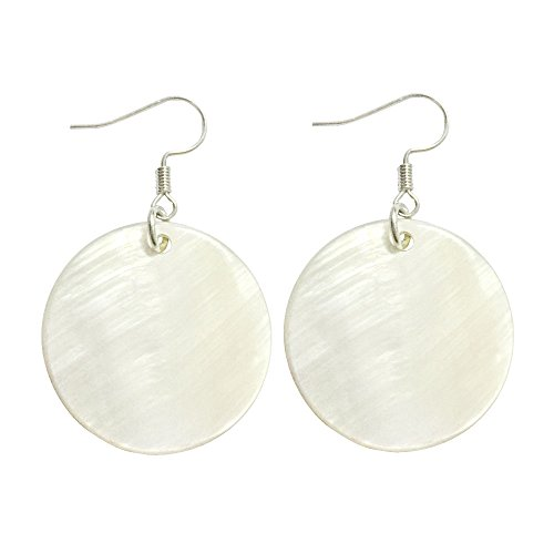 Natural Shell Earrings - MA&SN Natural White Sea Shell Silver Drop Dangle Earrings Women Girl Gift Beach Jewelry (White)
