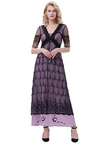 1 Kleid Kleid Gothic Lang Schwarz Damen Steampunk Belle Bp247 Poque Corsagenkleid vqwEXU4H