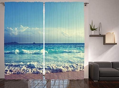 Ambesonne Tropical Island Curtains - a good cheap window curtain panel