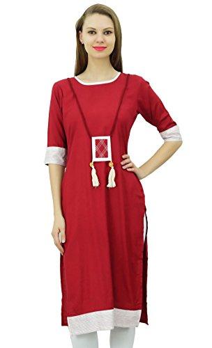 Bimba Mujeres Rayón túnica de manga 3/4 elegante vestido Kurti Kurta indio étnico Granate