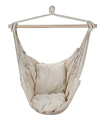 - Swing Hanging Hammock Chair With Two Cushions (White)