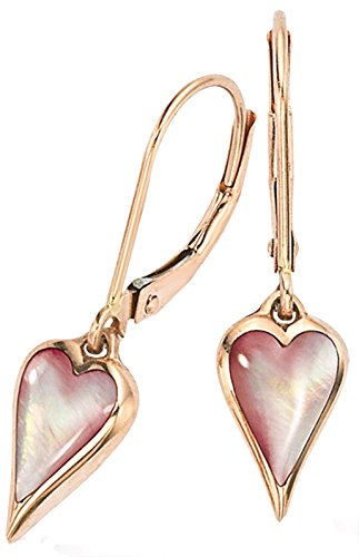 Kabana 14K Rose Gold Pink Mother of Pearl Heart Shaped Dangle (Kabana Rose Ring)