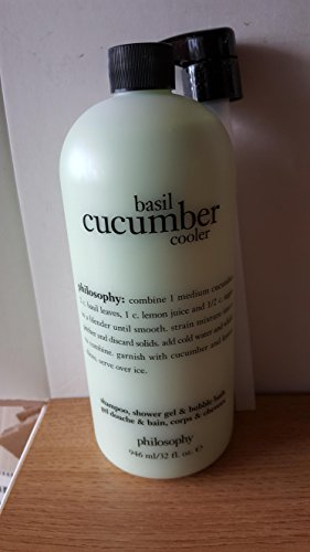 Philosophy Basil Cucumber Cooler 3 in 1 Shampoo Bubble Bath Shower Gel 32 OZ New With ()