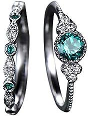 2pcs Engagement Wedding Ring for Women Gemstone Cubic Zirconia Diamond Jewelry Gift Set Size 6-10