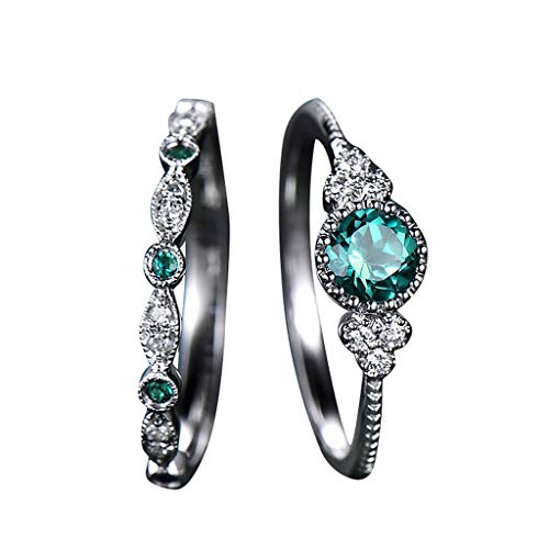 XINHUXIN 2pcs Sparkling Natural Gemstone Ring Set Women Emerald Sapphire Wedding Rings Fashion Jewelry for Girlfriend, Birthday