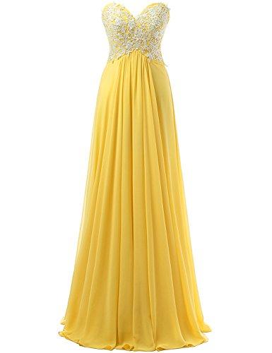 Vestido La Vestidos Amarillo Dama De Largo Baile Honor Noche Correas Jaeden Gasa dX0xH0Z