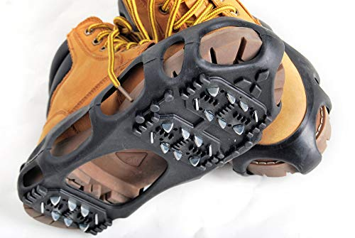 Kongland Shoes Protector Walk Traction Cleats on Ice and Snow, One Pair Elastic Rubber with Steel Cleats for Climbing and Hiking, Snow Cleats for Better Balance and Grip, Size XL