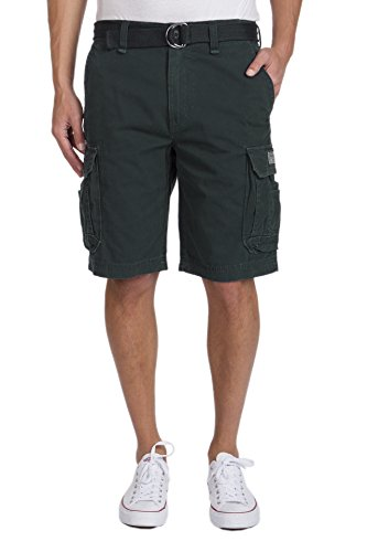 Grenade Shorts (UNIONBAY Men's Survivor Belted Cargo Short-Reg and Big and Tall Sizes, Grenade, 36)
