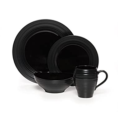 Mikasa Swirl Black 20 Piece Dinnerware Set, Service for 4