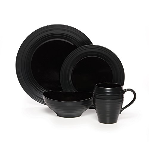 Mikasa Swirl Black 20 Piece Dinnerware Set, Service for 4 ()