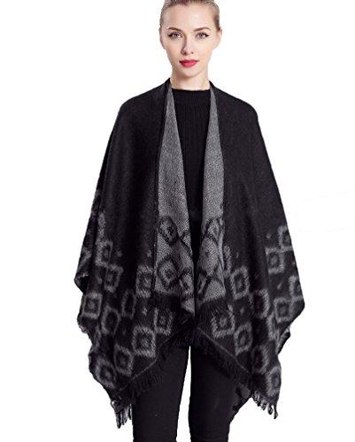 Manteau Oversized Noir Echarpe ZKOO Chaud Couverture Stripes Poncho Femmes Cardigans Chale Epaisse Blanket Cachemire Cape O1qAS1U